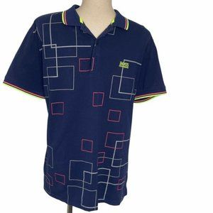 BOSS Hugo Boss Men's Navy Geometric Print Colorful Polo Size XL Pre-Owned